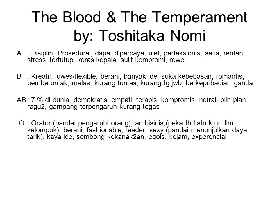 The Blood & The Temperament by: Toshitaka Nomi