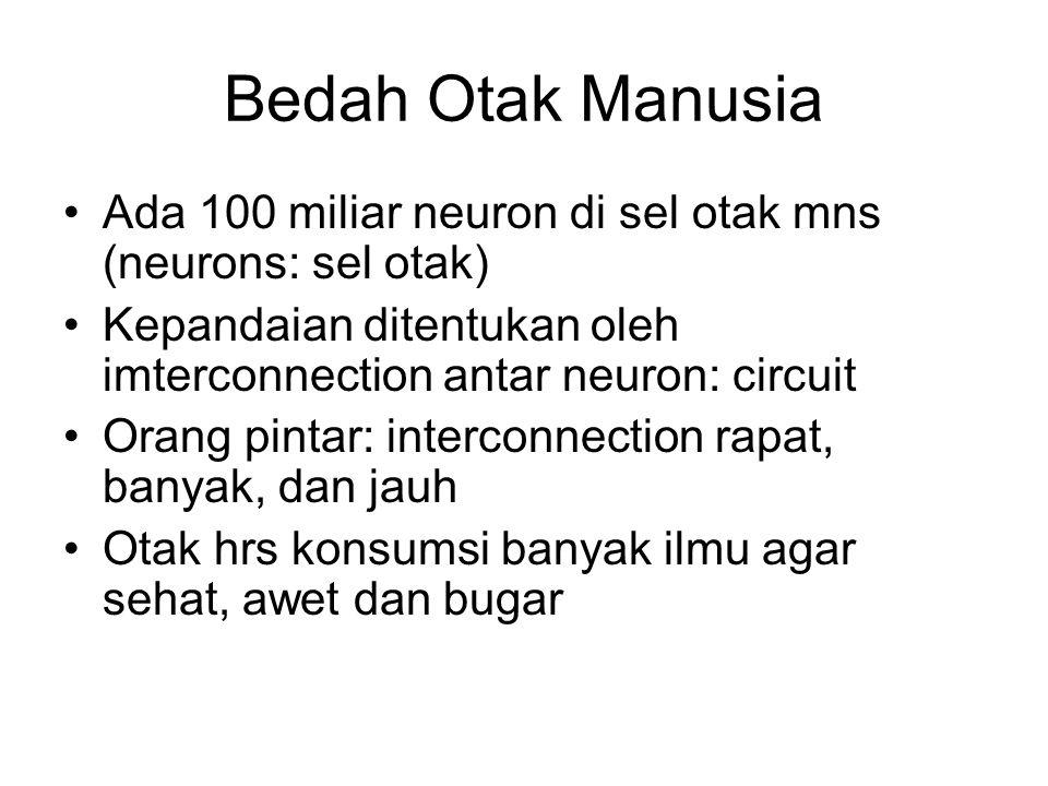 Bedah Otak Manusia Ada 100 miliar neuron di sel otak mns (neurons: sel otak) Kepandaian ditentukan oleh imterconnection antar neuron: circuit.