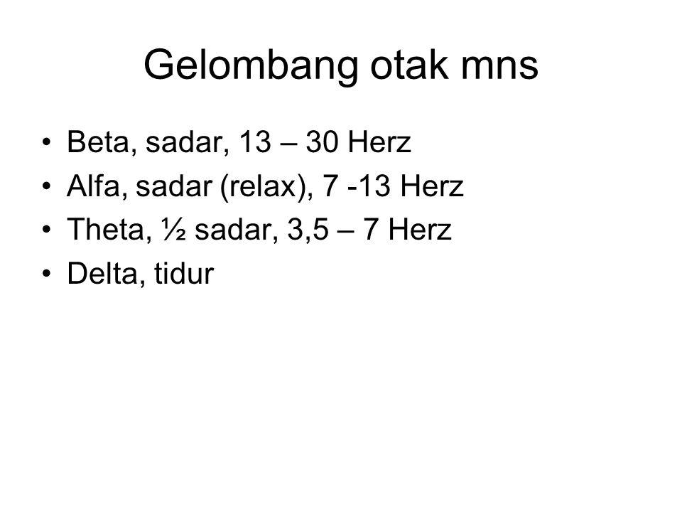 Gelombang otak mns Beta, sadar, 13 – 30 Herz