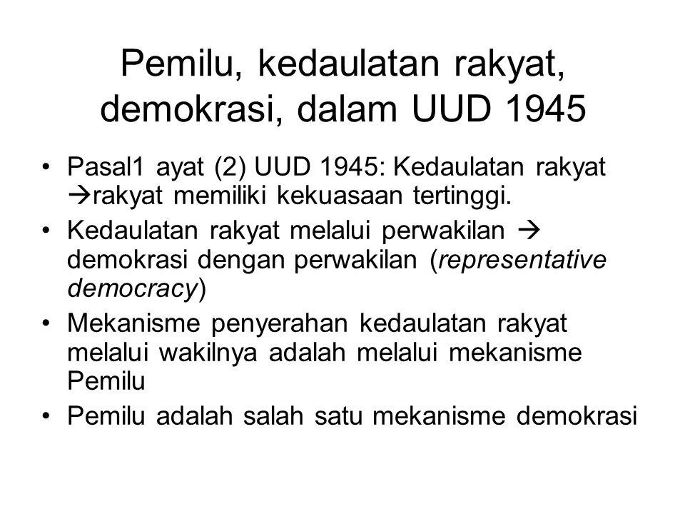 Pemilu, kedaulatan rakyat, demokrasi, dalam UUD 1945
