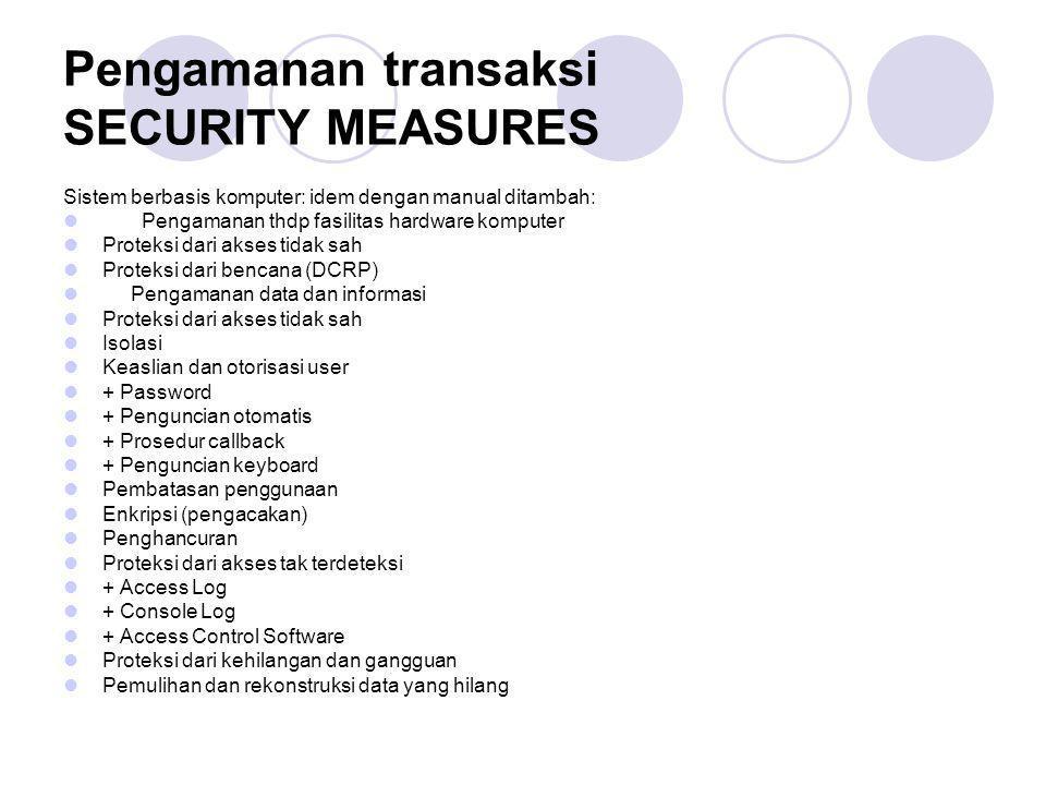 Pengamanan transaksi SECURITY MEASURES