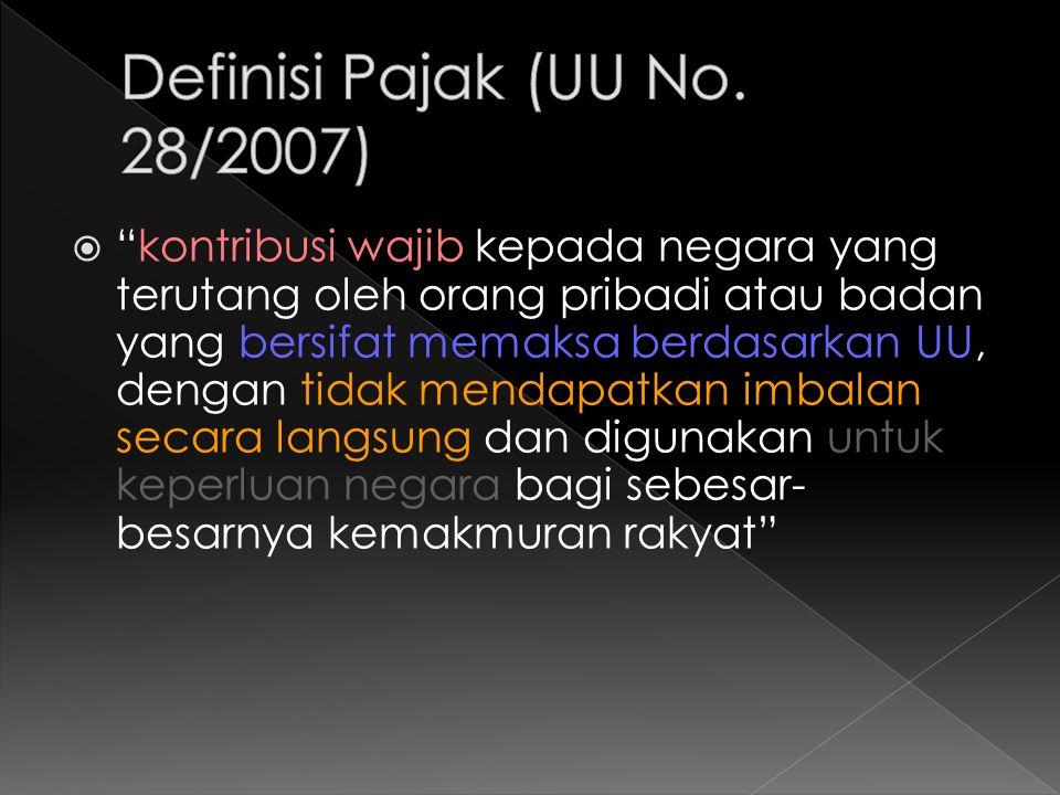 Definisi Pajak (UU No. 28/2007)