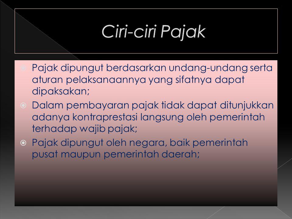 Ciri-ciri Pajak Pajak dipungut berdasarkan undang-undang serta aturan pelaksanaannya yang sifatnya dapat dipaksakan;
