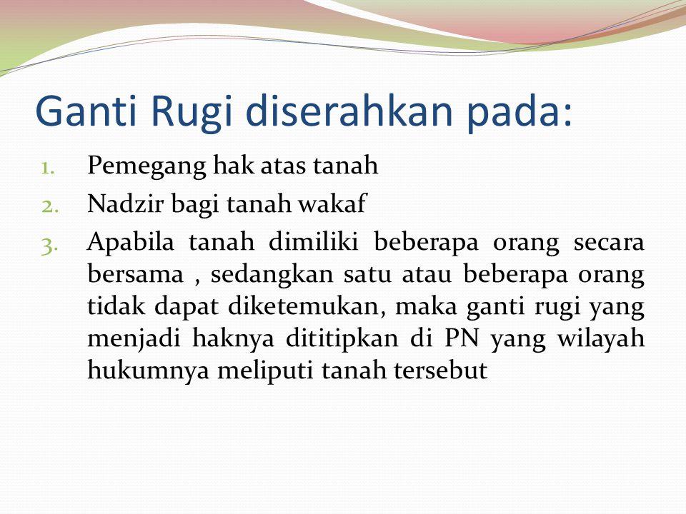 Ganti Rugi diserahkan pada: