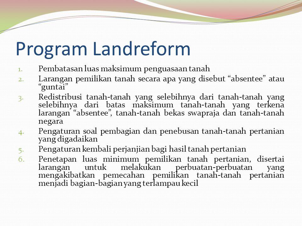 Program Landreform Pembatasan luas maksimum penguasaan tanah