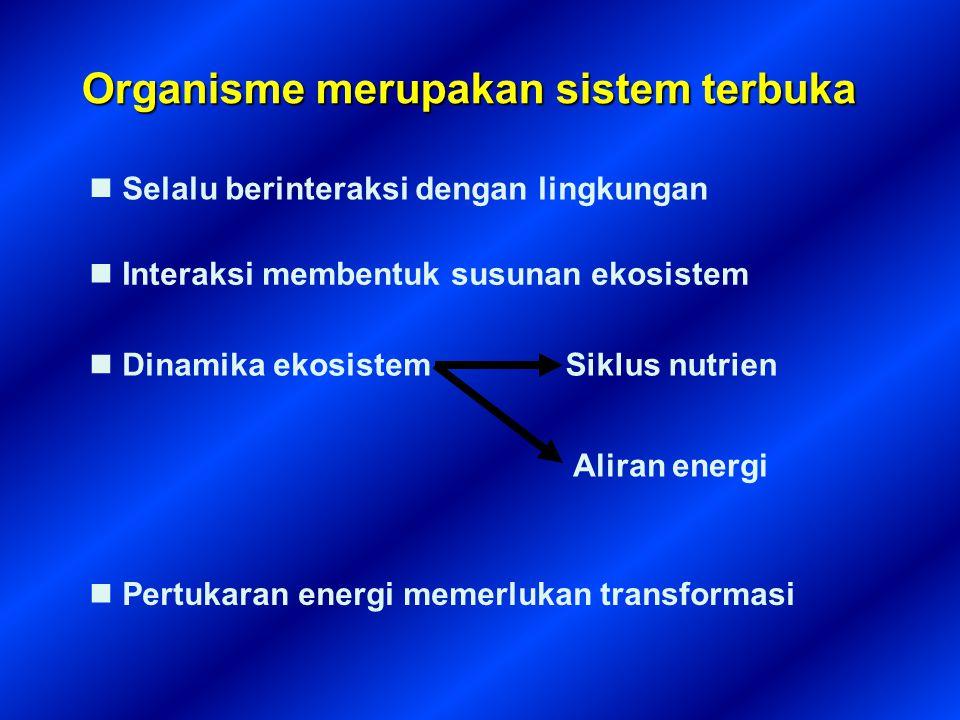 Organisme merupakan sistem terbuka