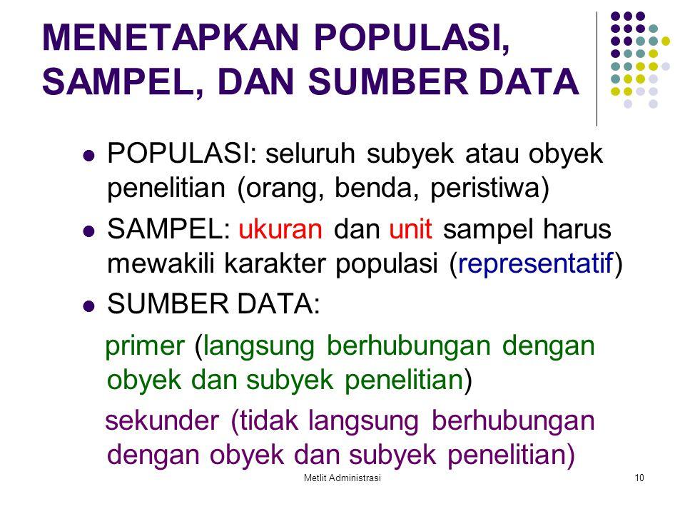 MENETAPKAN POPULASI, SAMPEL, DAN SUMBER DATA