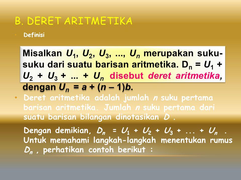B. Deret Aritmetika Definisi.