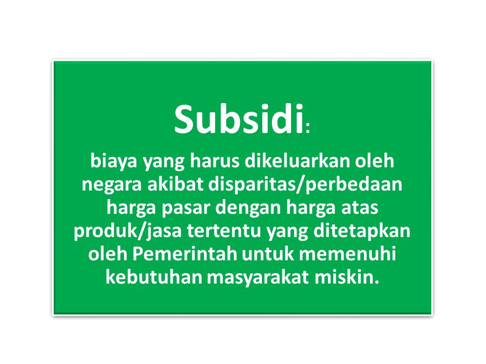 Subsidi: