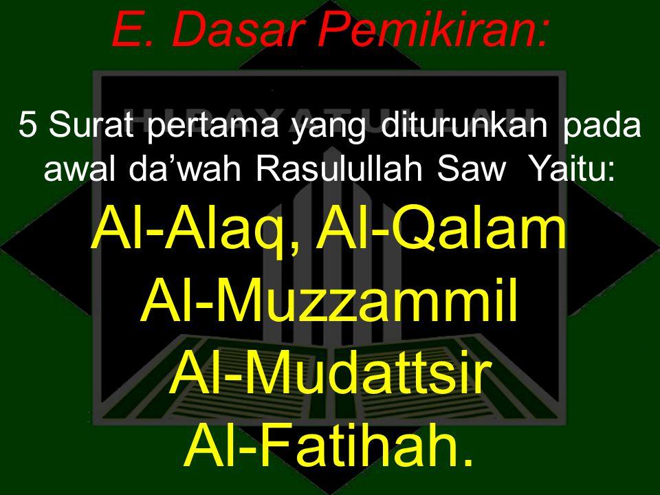 Al-Alaq, Al-Qalam Al-Muzzammil Al-Mudattsir