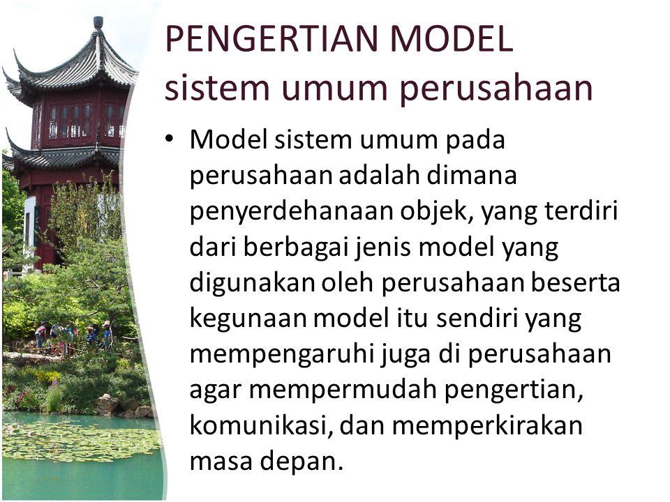 PENGERTIAN MODEL sistem umum perusahaan