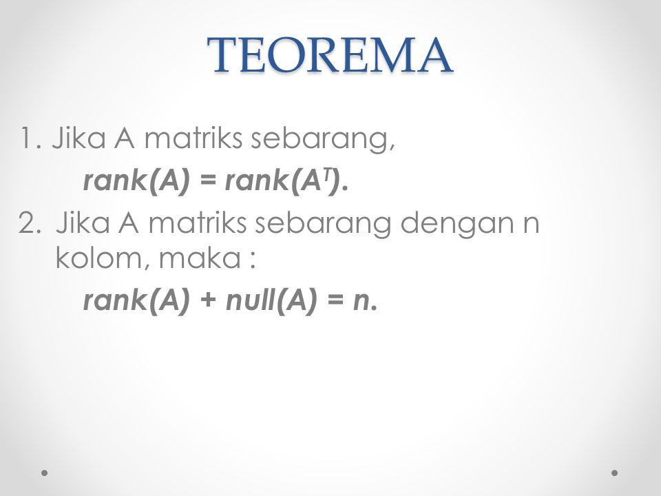 TEOREMA Jika A matriks sebarang, rank(A) = rank(AT).
