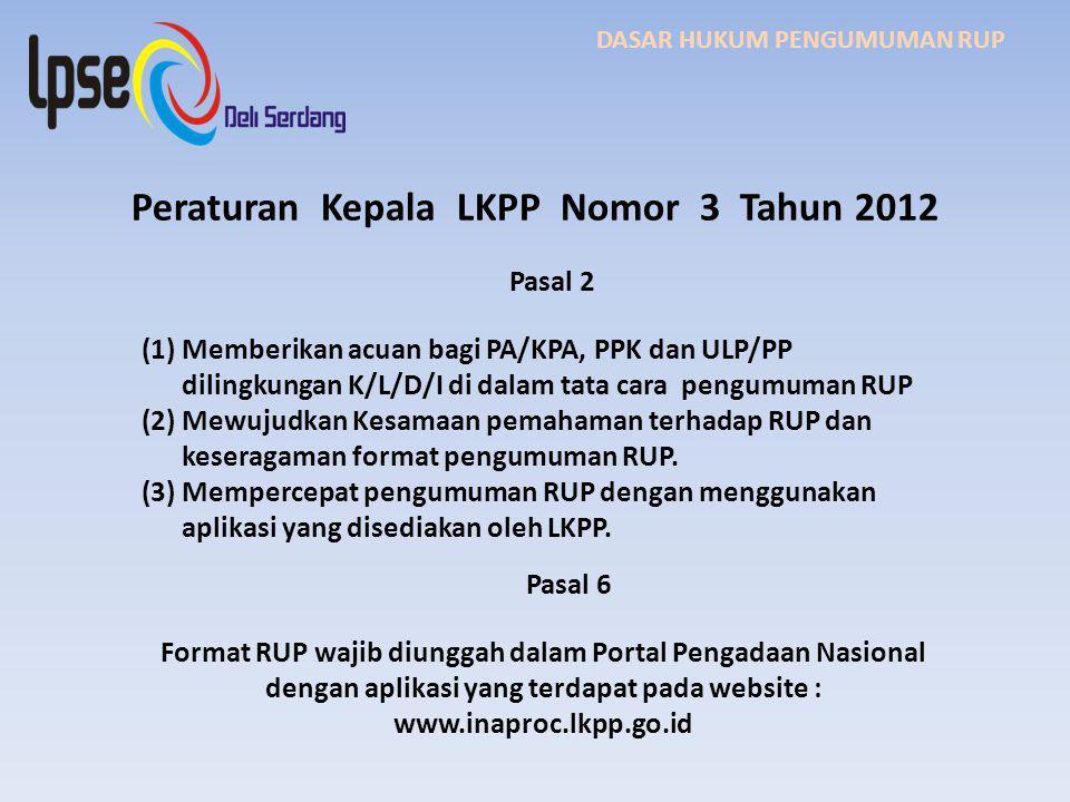 Peraturan Kepala LKPP Nomor 3 Tahun 2012