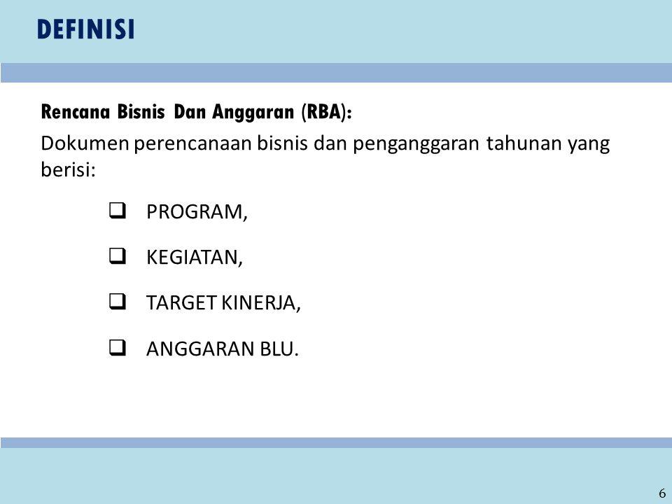 DEFINISI Rencana Bisnis Dan Anggaran (RBA):
