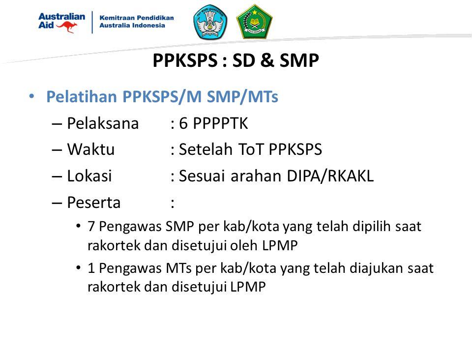 PPKSPS : SD & SMP Pelatihan PPKSPS/M SMP/MTs Pelaksana : 6 PPPPTK