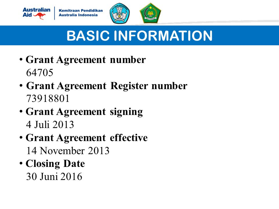 BASIC INFORMATION Grant Agreement number 64705