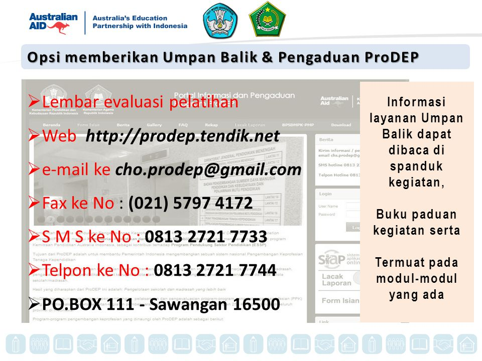 Lembar evaluasi pelatihan Web http://prodep.tendik.net