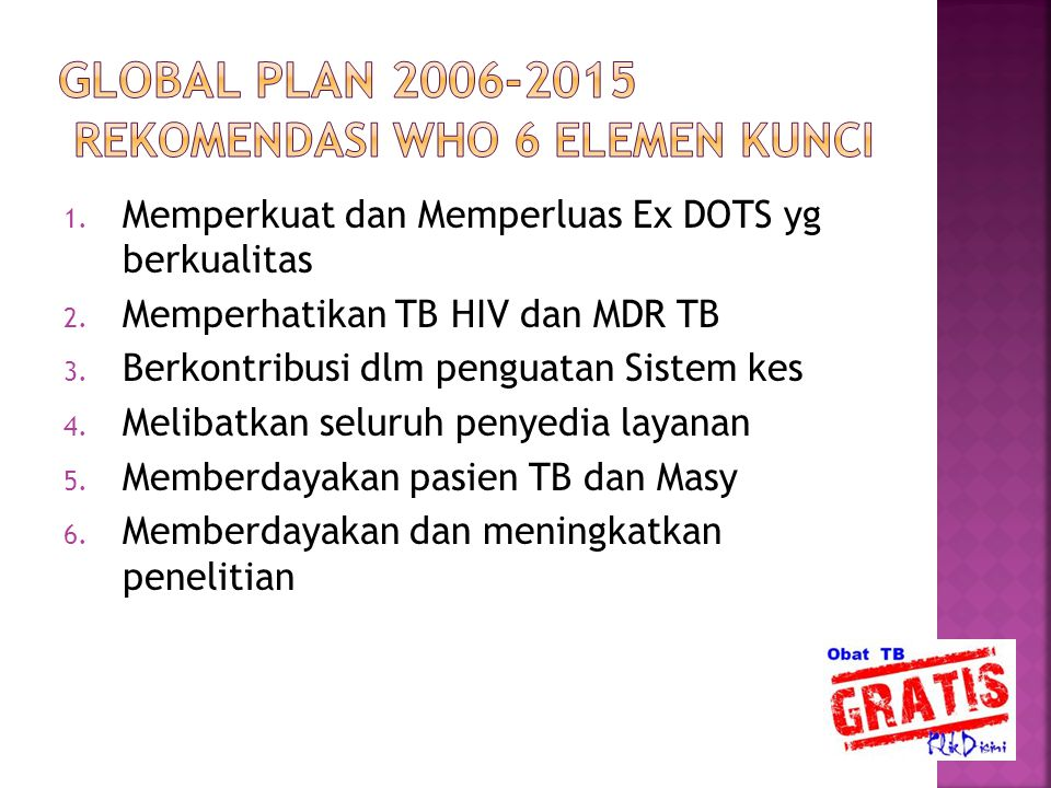 GLOBAL PLAN 2006-2015 REKOMENDASI WHO 6 ELEMEN KUNCI