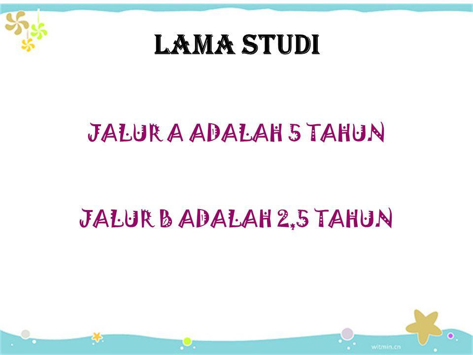 JALUR A ADALAH 5 TAHUN JALUR B ADALAH 2,5 TAHUN