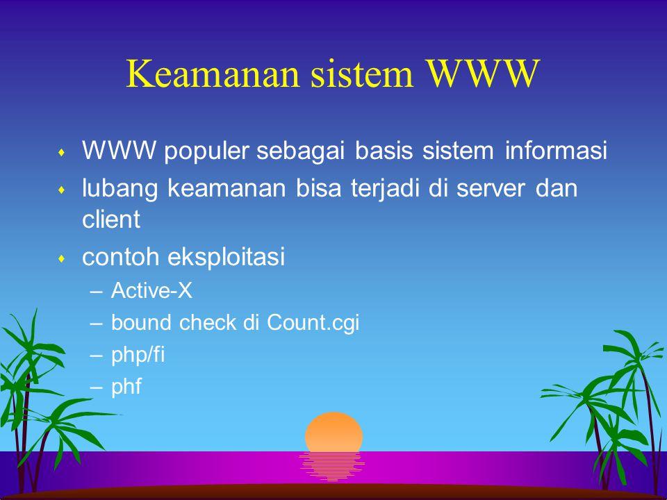 Keamanan sistem WWW WWW populer sebagai basis sistem informasi
