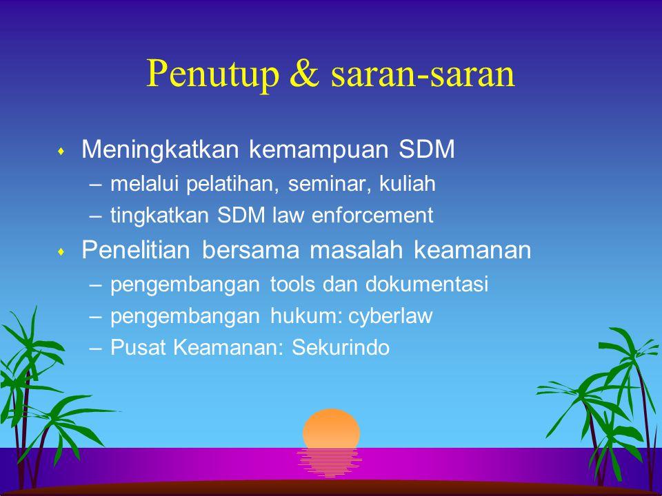 Penutup & saran-saran Meningkatkan kemampuan SDM