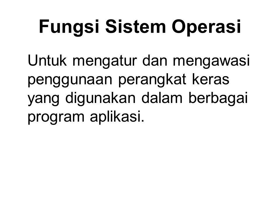 Fungsi Sistem Operasi Untuk mengatur dan mengawasi penggunaan perangkat keras yang digunakan dalam berbagai program aplikasi.