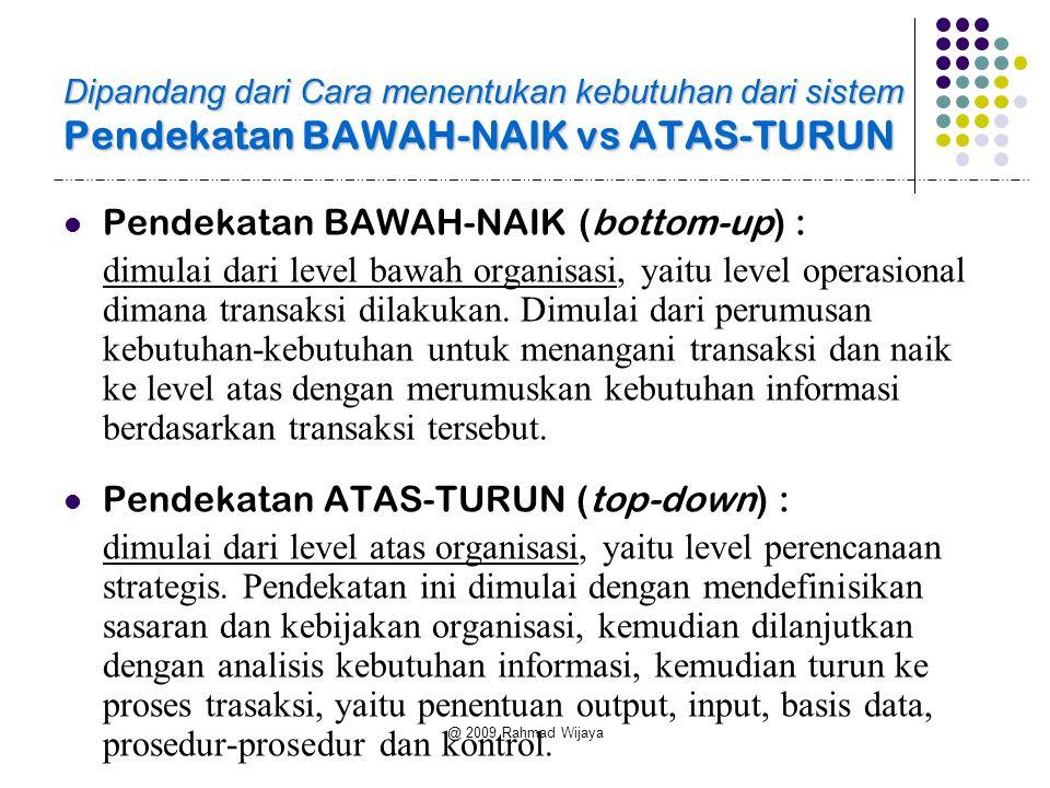 Pendekatan BAWAH-NAIK (bottom-up) :