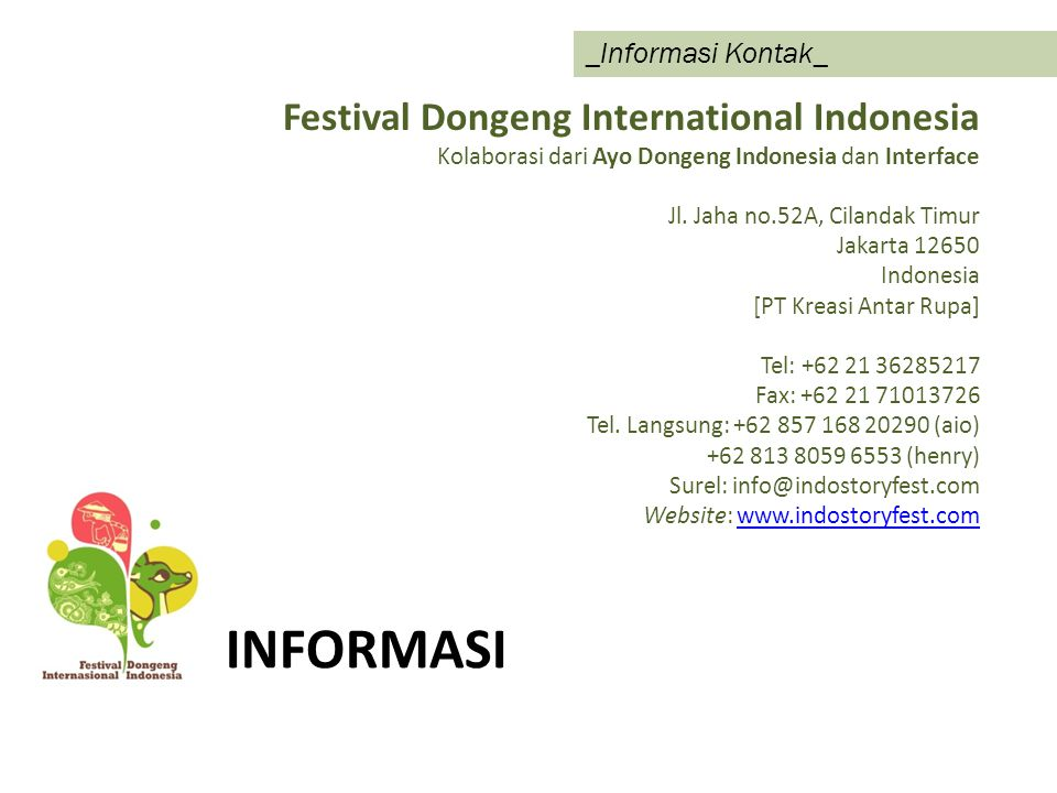 informaSi Festival Dongeng International Indonesia _Informasi Kontak_