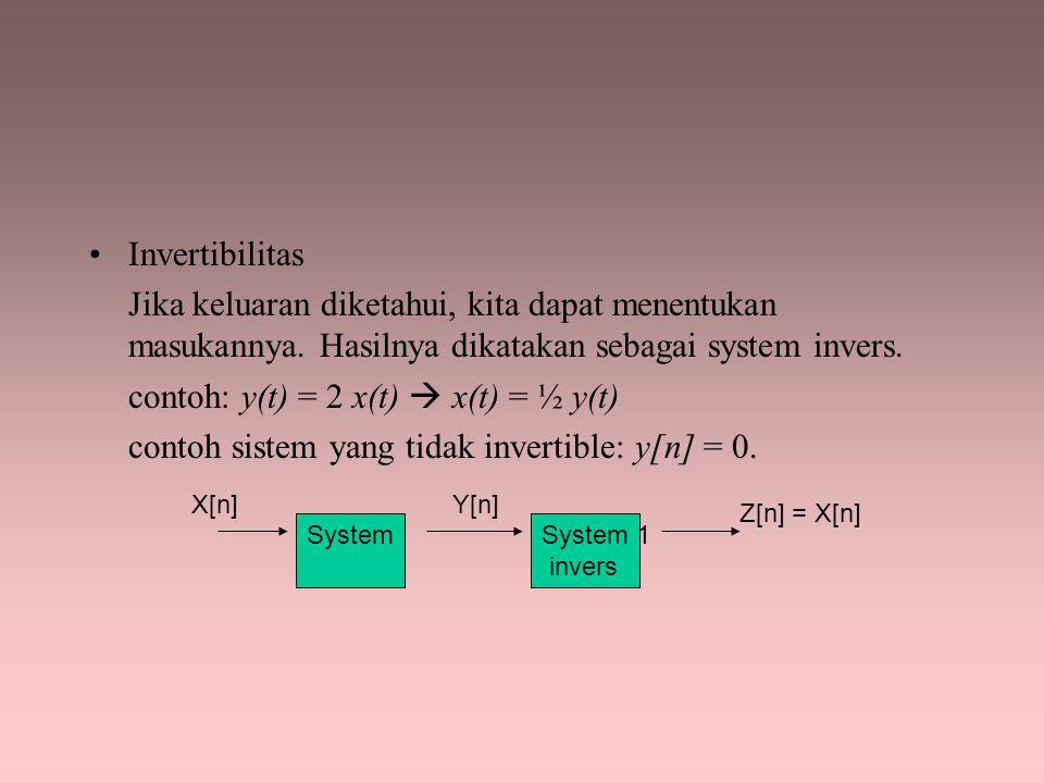 contoh: y(t) = 2 x(t)  x(t) = ½ y(t)