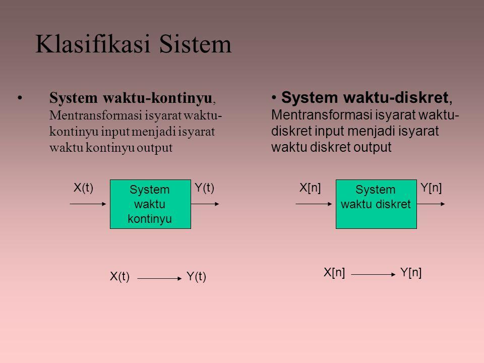 Klasifikasi Sistem System waktu-kontinyu, Mentransformasi isyarat waktu-kontinyu input menjadi isyarat waktu kontinyu output.