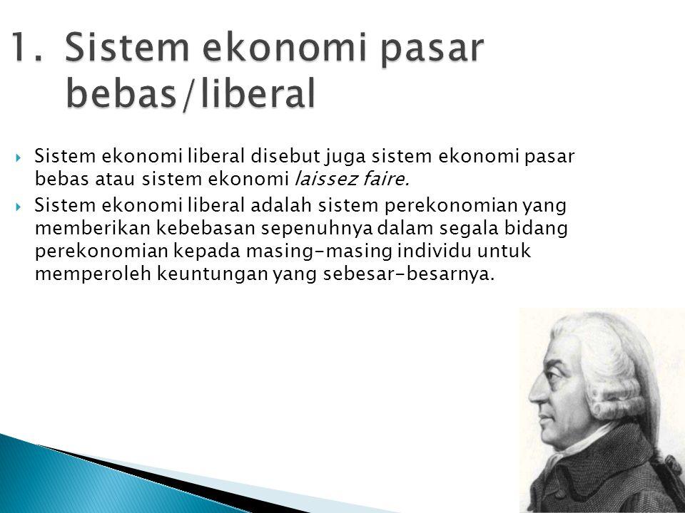 Sistem ekonomi pasar bebas/liberal