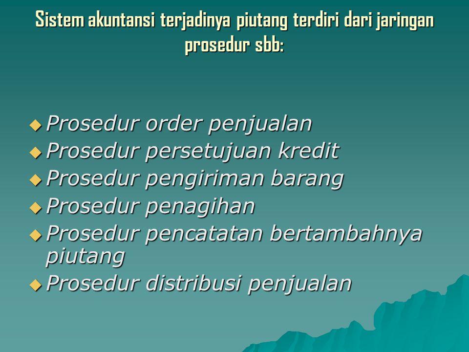 Sistem akuntansi terjadinya piutang terdiri dari jaringan prosedur sbb:
