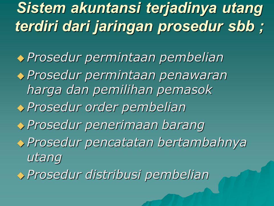 Sistem akuntansi terjadinya utang terdiri dari jaringan prosedur sbb ;