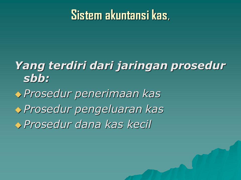 Sistem akuntansi kas, Yang terdiri dari jaringan prosedur sbb: