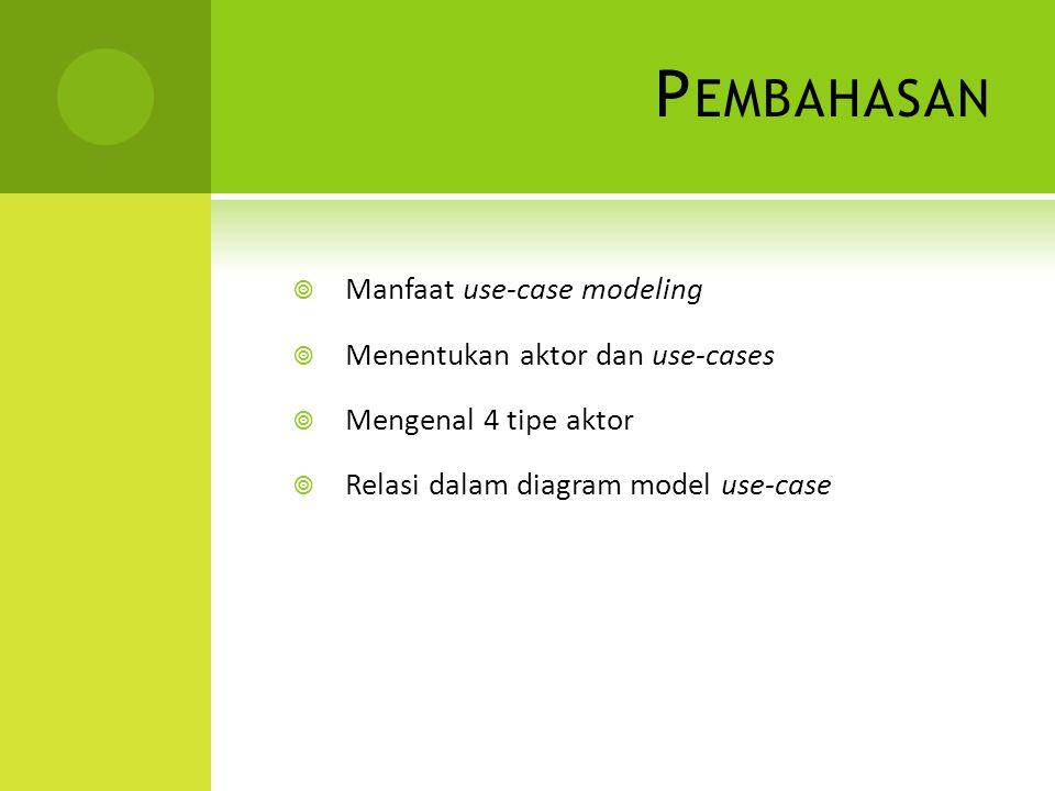 Pembahasan Manfaat use-case modeling Menentukan aktor dan use-cases