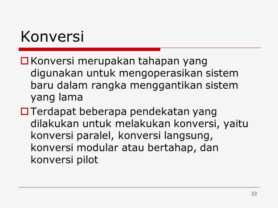 Konversi Konversi merupakan tahapan yang digunakan untuk mengoperasikan sistem baru dalam rangka menggantikan sistem yang lama.