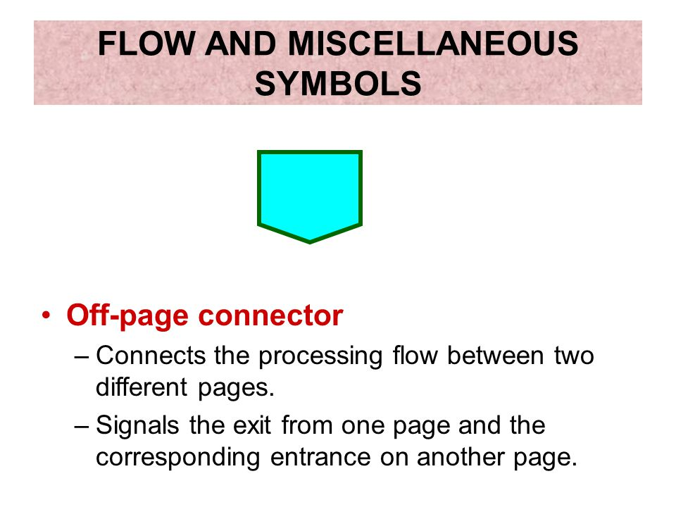 FLOW AND MISCELLANEOUS SYMBOLS