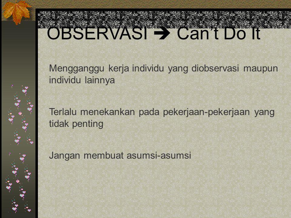 OBSERVASI  Can't Do It Mengganggu kerja individu yang diobservasi maupun individu lainnya.