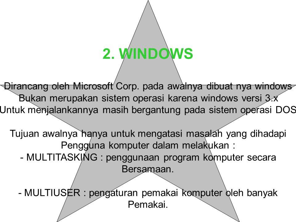 2. WINDOWS Dirancang oleh Microsoft Corp. pada awalnya dibuat nya windows. Bukan merupakan sistem operasi karena windows versi 3.x.