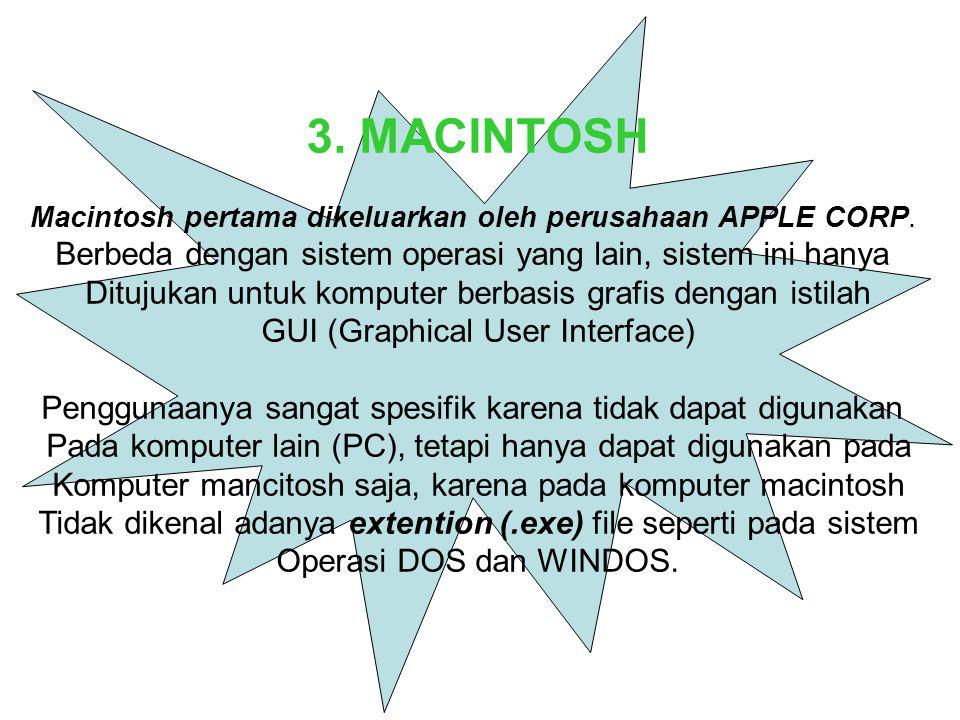 3. MACINTOSH Berbeda dengan sistem operasi yang lain, sistem ini hanya