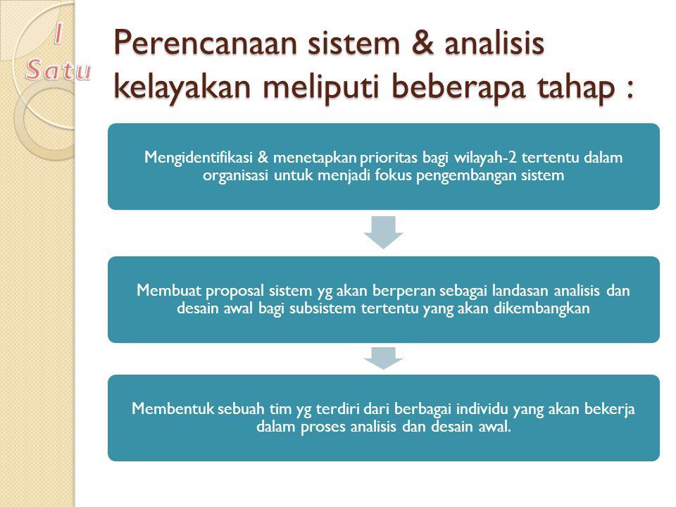 Perencanaan sistem & analisis kelayakan meliputi beberapa tahap :