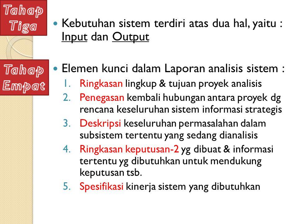 Tahap Tiga. Kebutuhan sistem terdiri atas dua hal, yaitu : Input dan Output. Elemen kunci dalam Laporan analisis sistem :