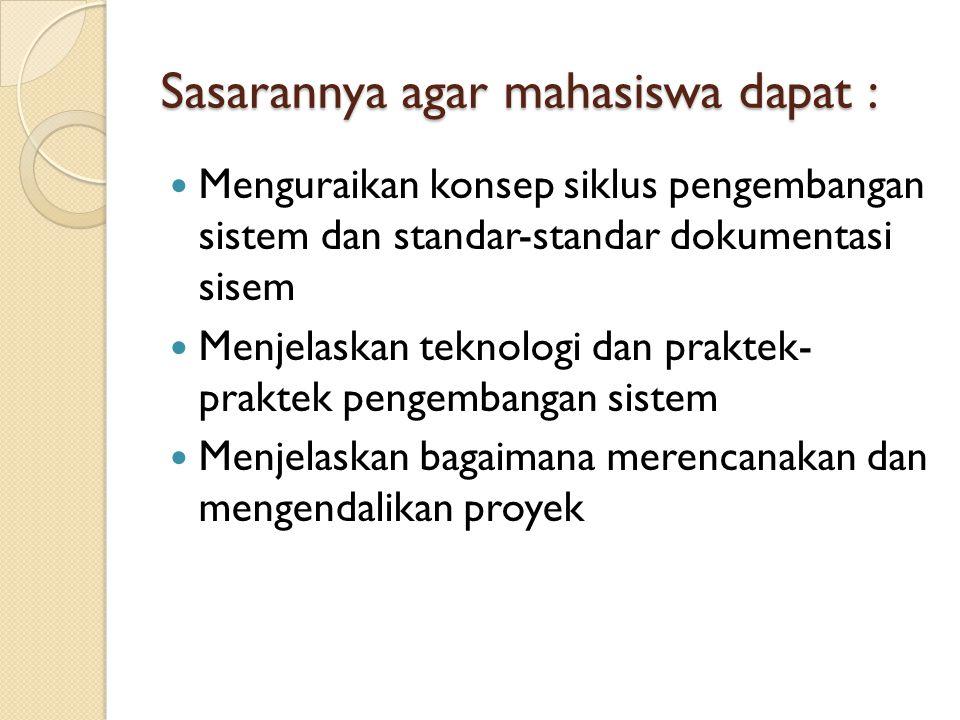Sasarannya agar mahasiswa dapat :