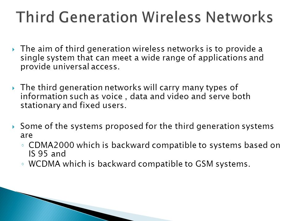 Third Generation Wireless Networks