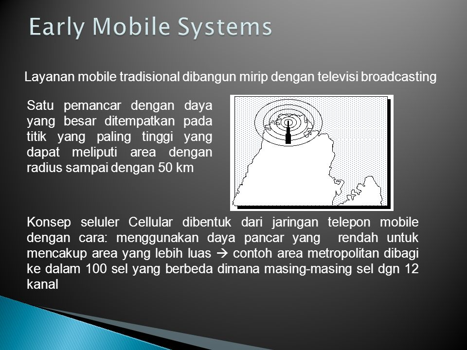 Early Mobile Systems Layanan mobile tradisional dibangun mirip dengan televisi broadcasting.