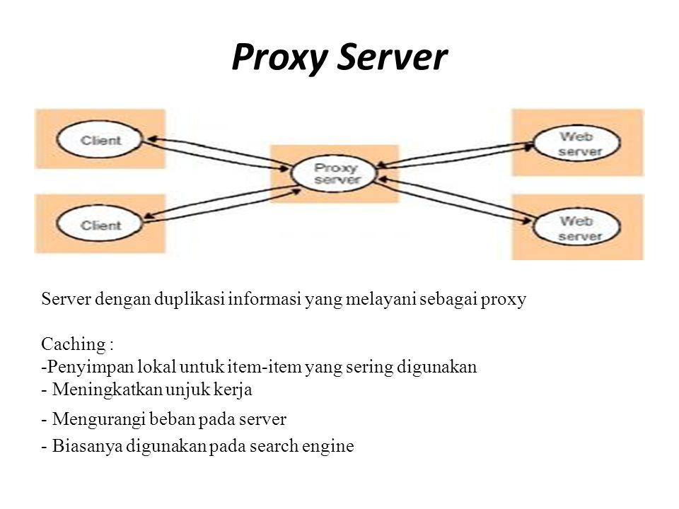 Proxy Server Server dengan duplikasi informasi yang melayani sebagai proxy. Caching : Penyimpan lokal untuk item-item yang sering digunakan.