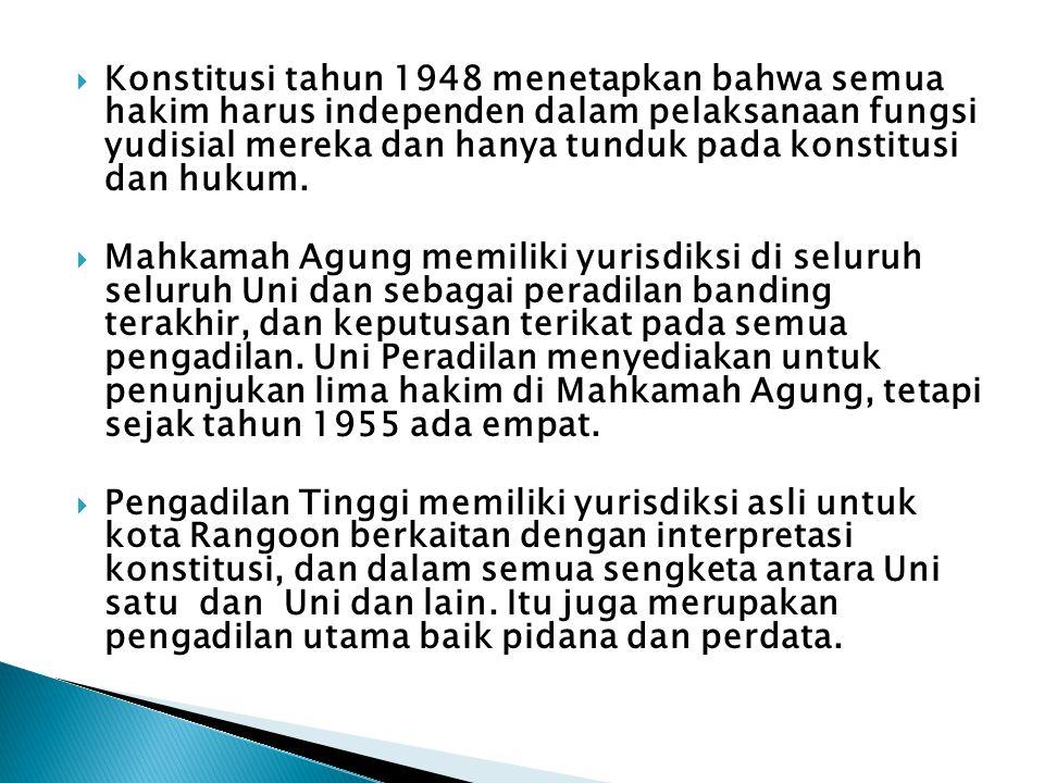 Konstitusi tahun 1948 menetapkan bahwa semua hakim harus independen dalam pelaksanaan fungsi yudisial mereka dan hanya tunduk pada konstitusi dan hukum.