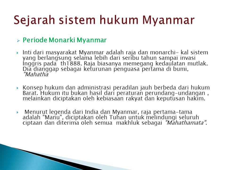 Sejarah sistem hukum Myanmar