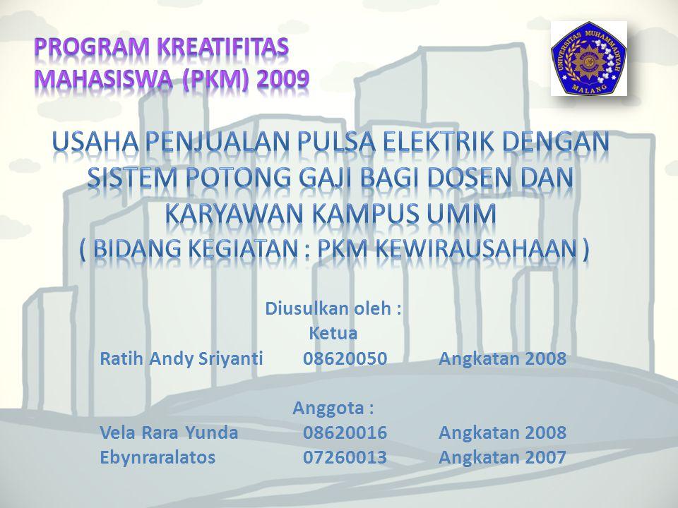 PROGRAM KREATIFITAS MAHASISWA (PKM) 2009