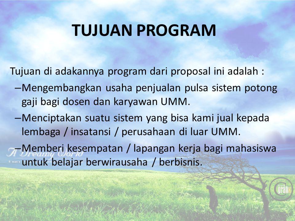 TUJUAN PROGRAM Tujuan di adakannya program dari proposal ini adalah :